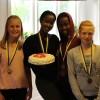 Nellie Heiver, Steffie Beriteka, Daniella Ishimwe och Sofie Gustavsson  knep medaljerna