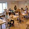 Den första lektionen i grundskolan – i den gamla sessionssalen
